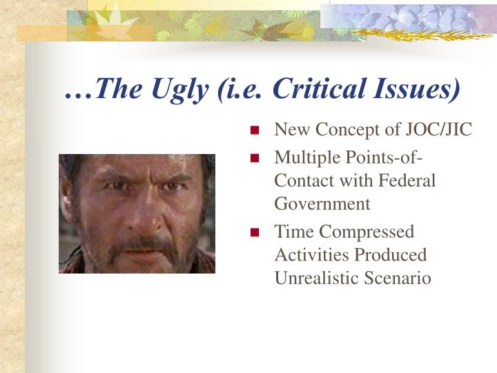 …The Ugly (i.e. Critical Issues)
