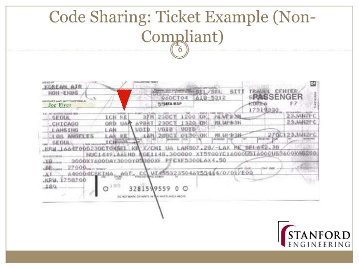 Code Sharing: Ticket Example (Non-Compliant)