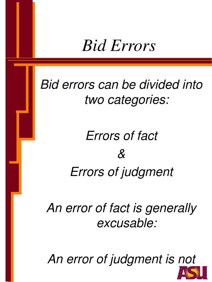 Bid Errors