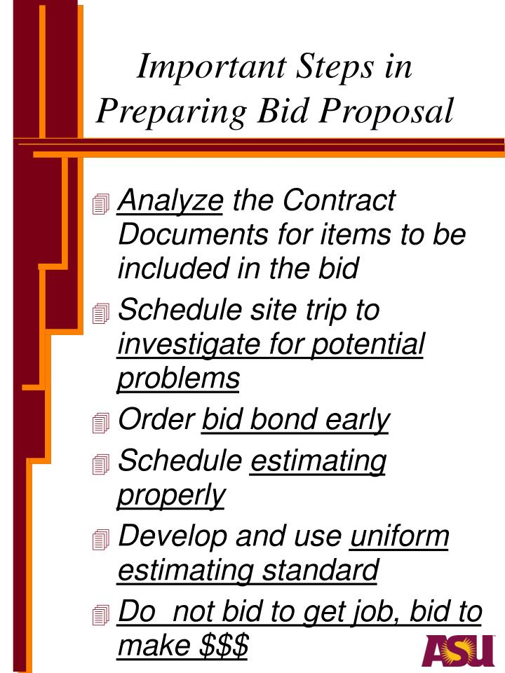 Important Steps in Preparing Bid Proposal