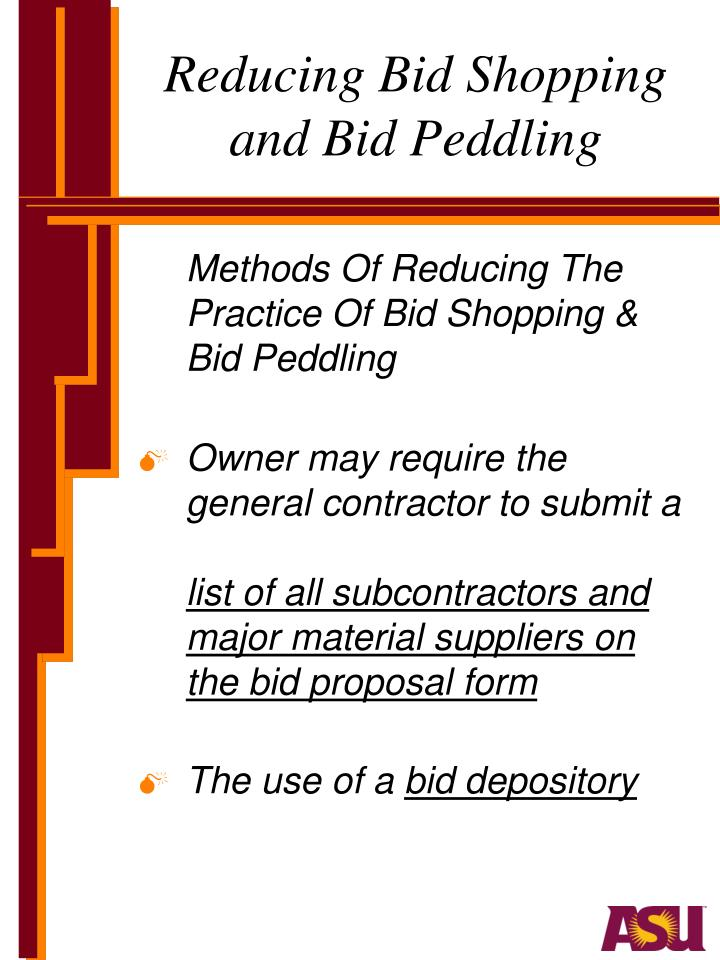 Reducing Bid Shopping and Bid Peddling