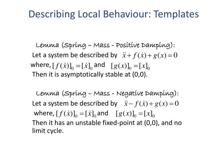 Describing Local Behaviour: Templates