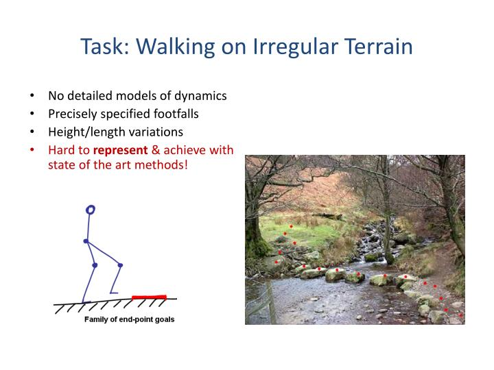 Task: Walking on Irregular Terrain