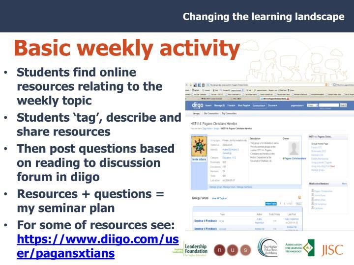 Basic weekly activity
