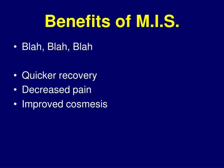 Benefits of M.I.S.