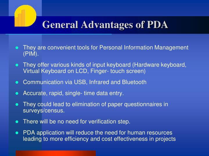 General Advantages of PDA