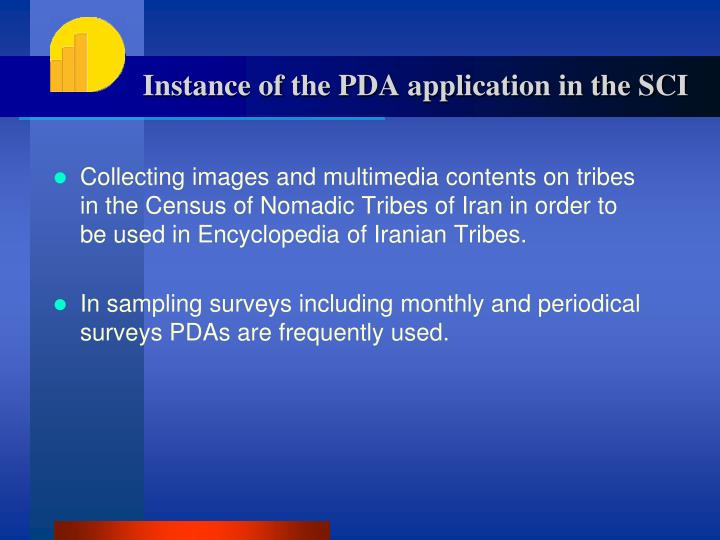 Instance of the PDA application in the SCI