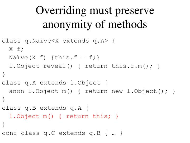 Overriding must preserve anonymity of methods