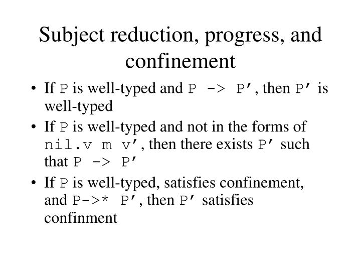 Subject reduction, progress, and confinement