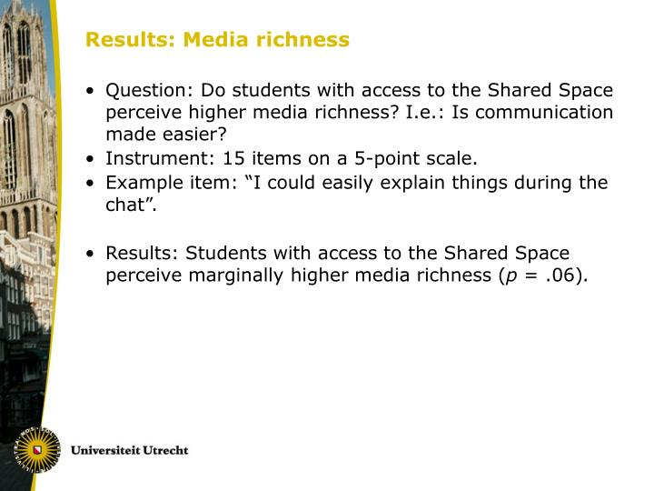 Results: Media richness