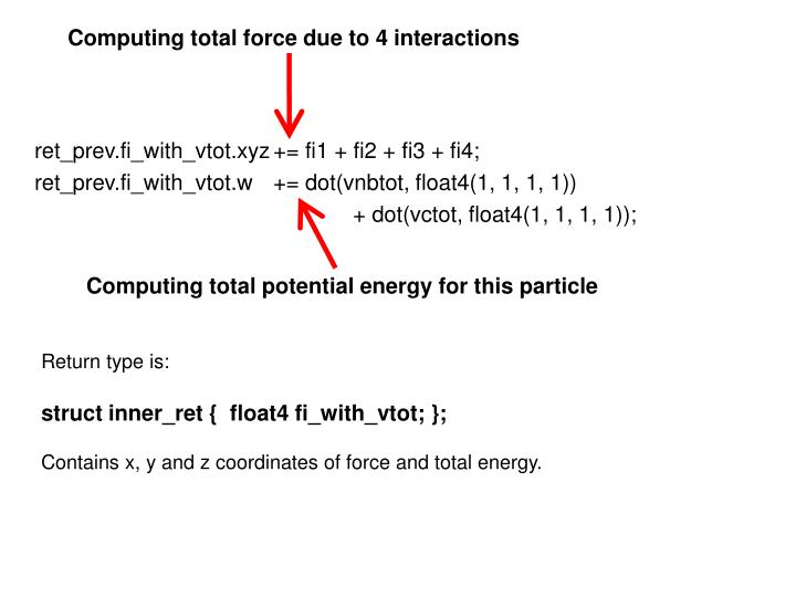 Computing total force due to 4 interactions