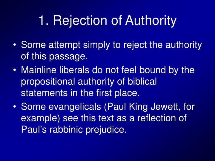 1. Rejection of Authority