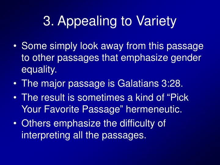3. Appealing to Variety
