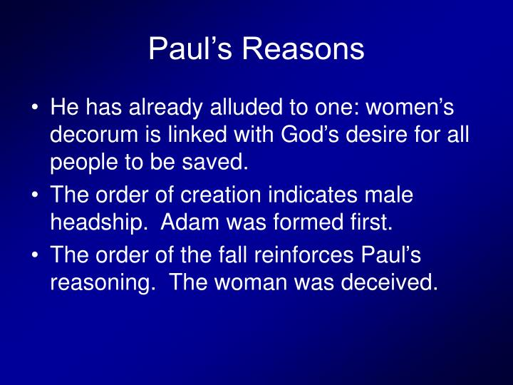Paul's Reasons