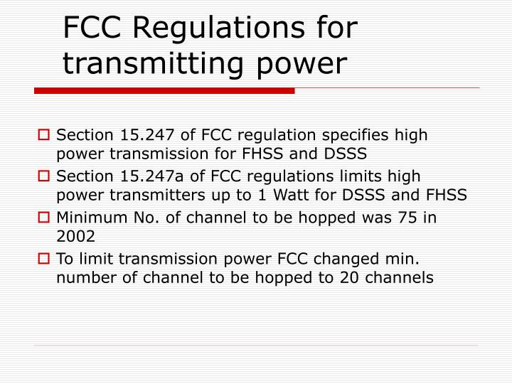 FCC Regulations for transmitting power