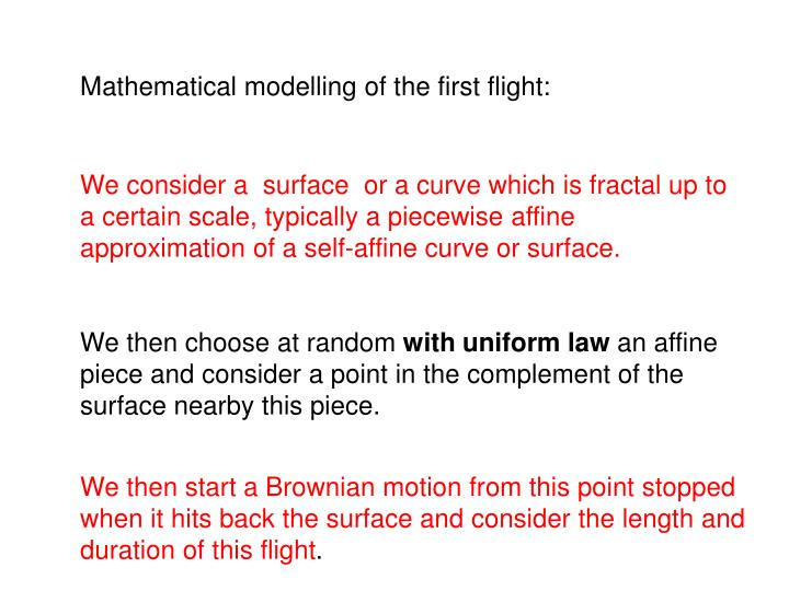 Mathematical modelling of the first flight: