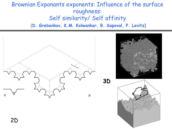 Brownian Exponants exponents: Influence of the surface roughness: