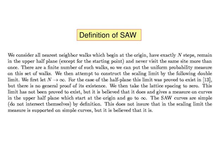 Definition of SAW