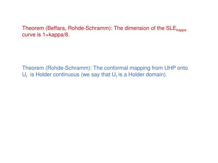 Theorem (Beffara, Rohde-Schramm): The dimension of the SLE