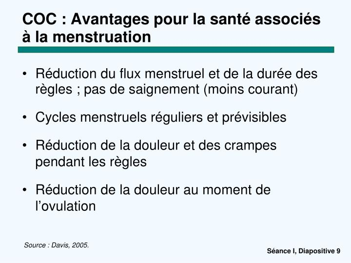 COC : Avantages pour la santé associés à la menstruation