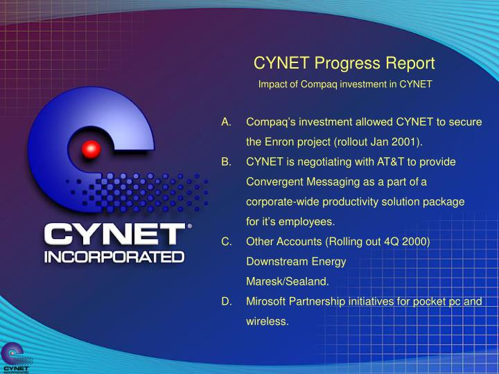 CYNET Progress Report