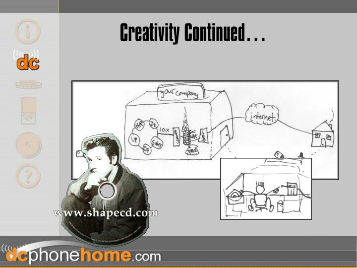 Creativity Continued…