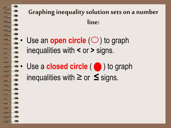 Graphing inequality solution sets on a number line:
