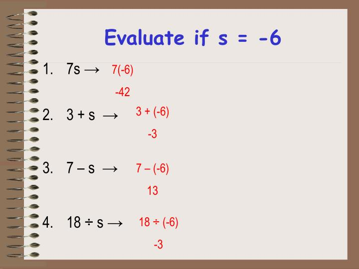 Evaluate if s = -6