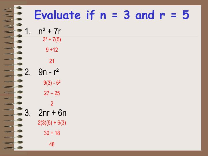 Evaluate if n = 3 and r = 5