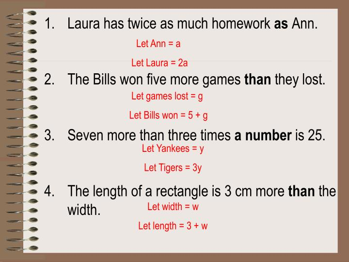 Laura has twice as much homework