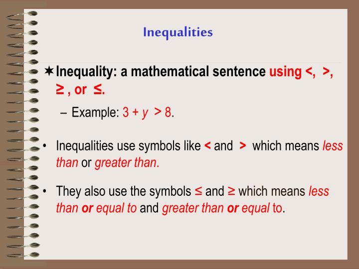 Inequality: a mathematical sentence