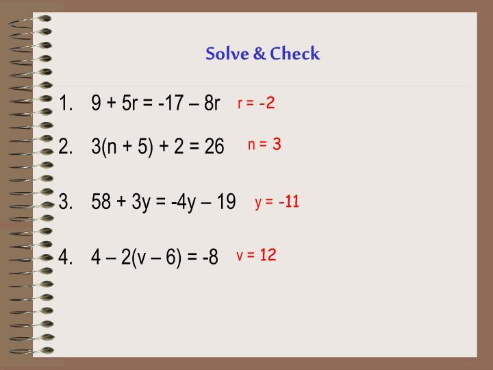 Solve & Check