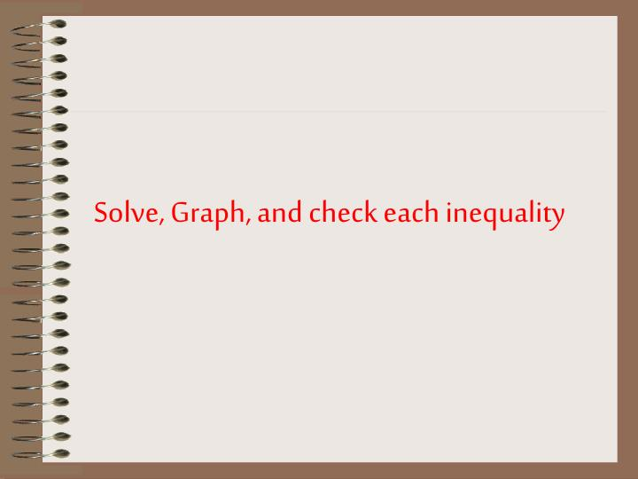 Solve, Graph, and check each inequality