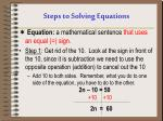steps to solving equations