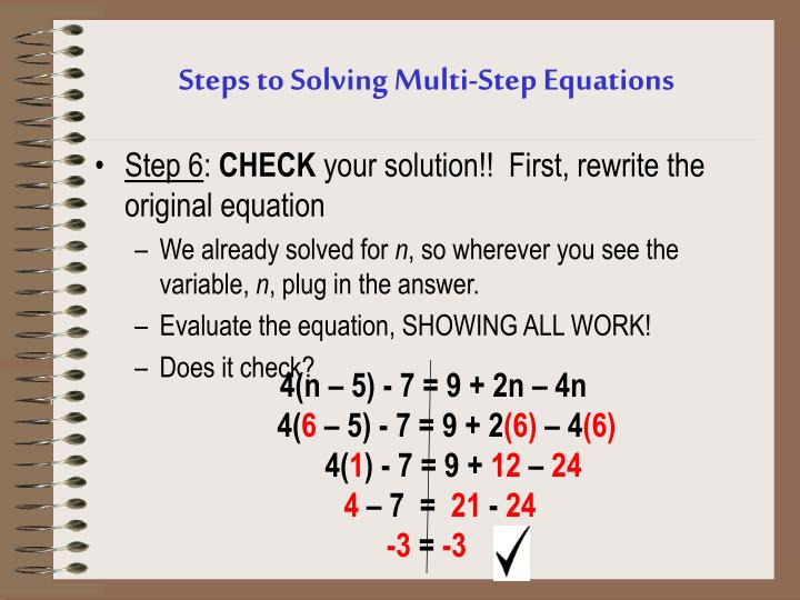 Steps to Solving Multi-Step Equations