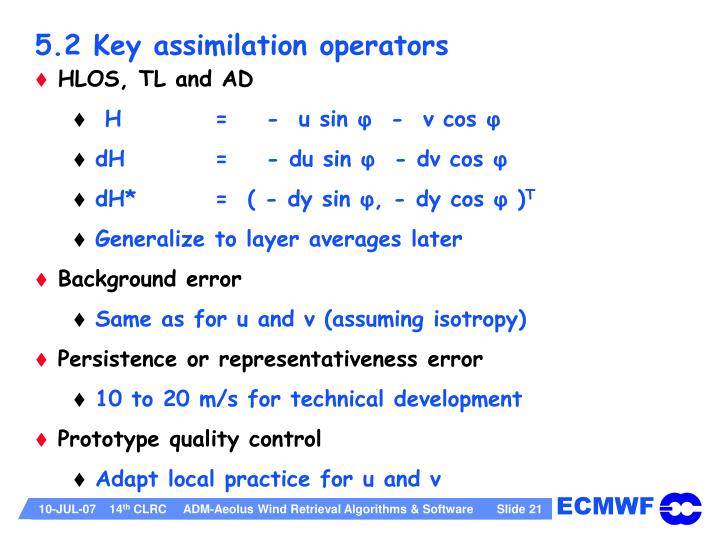 5.2 Key assimilation operators