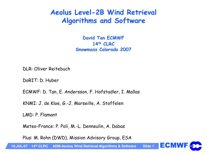 Aeolus Level-2B Wind Retrieval