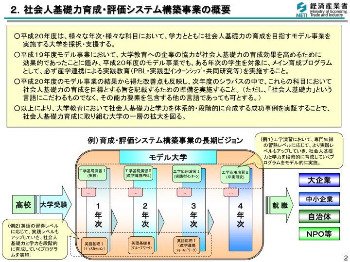 2.社会人基礎力育成・評価システム構築事業の概要