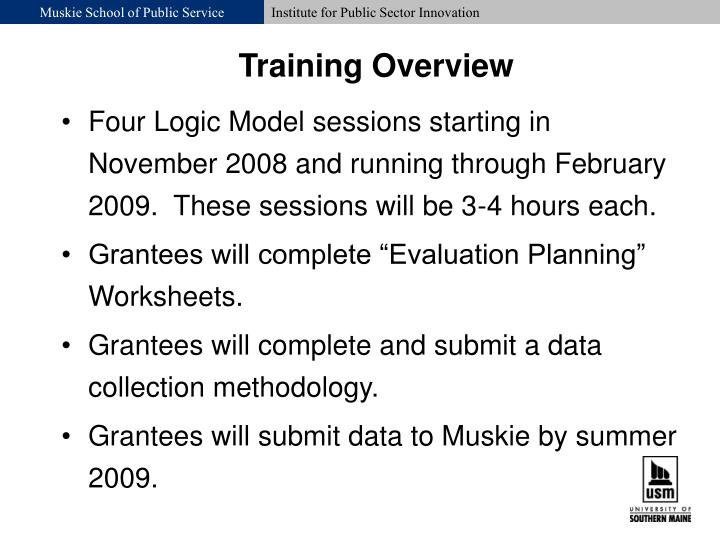 Four Logic Model sessions starting in November 2008 and running through February 2009.  These sessions will be 3-4 hours each.