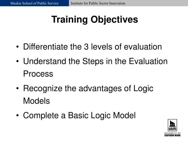 Differentiate the 3 levels of evaluation