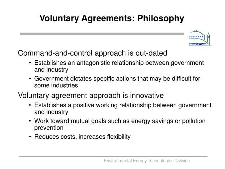Voluntary Agreements: Philosophy