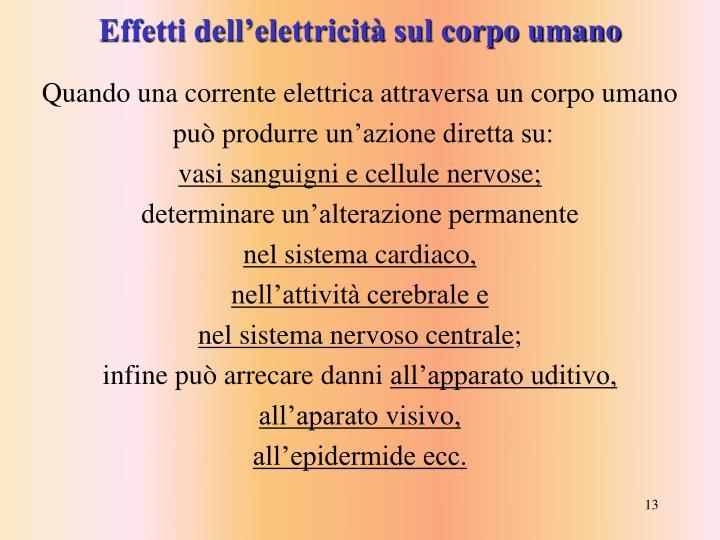 Effetti dell'elettricità sul corpo umano