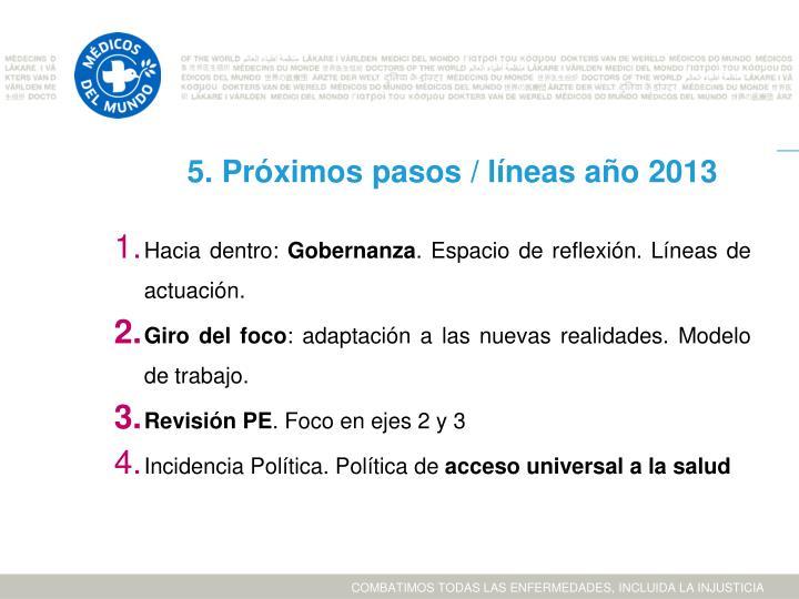 5. Próximos pasos / líneas año 2013