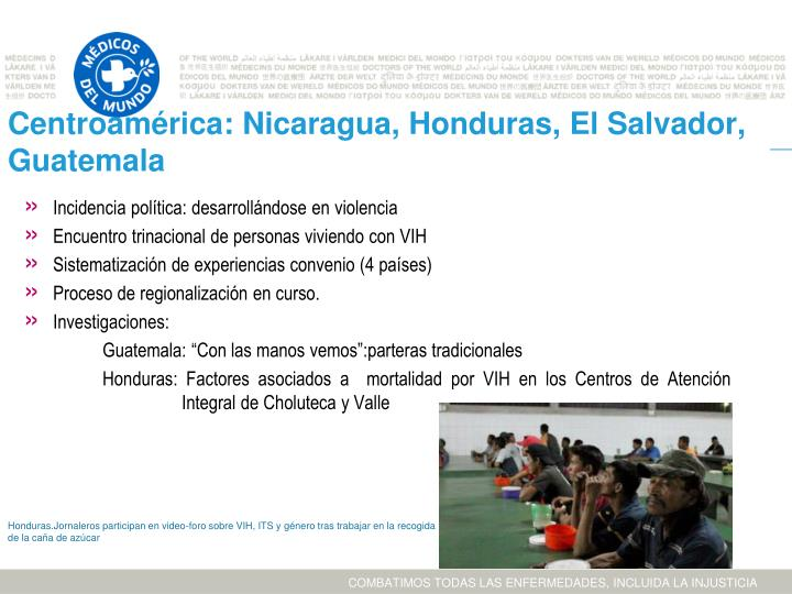Centroamérica: Nicaragua, Honduras, El Salvador, Guatemala