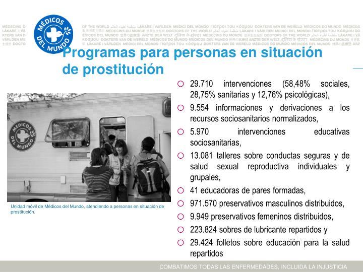 Programas para personas en situación de prostitución