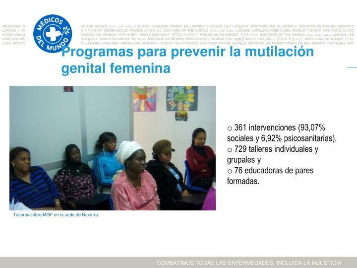 Programas para prevenir la mutilación genital femenina