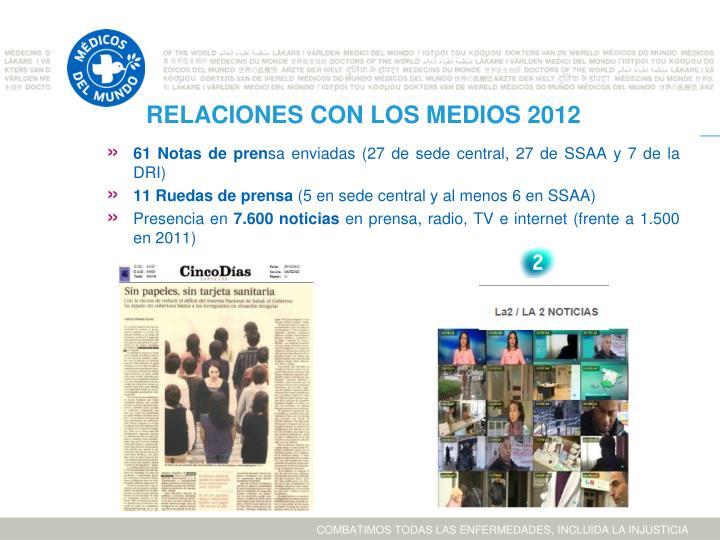 RELACIONES CON LOS MEDIOS 2012