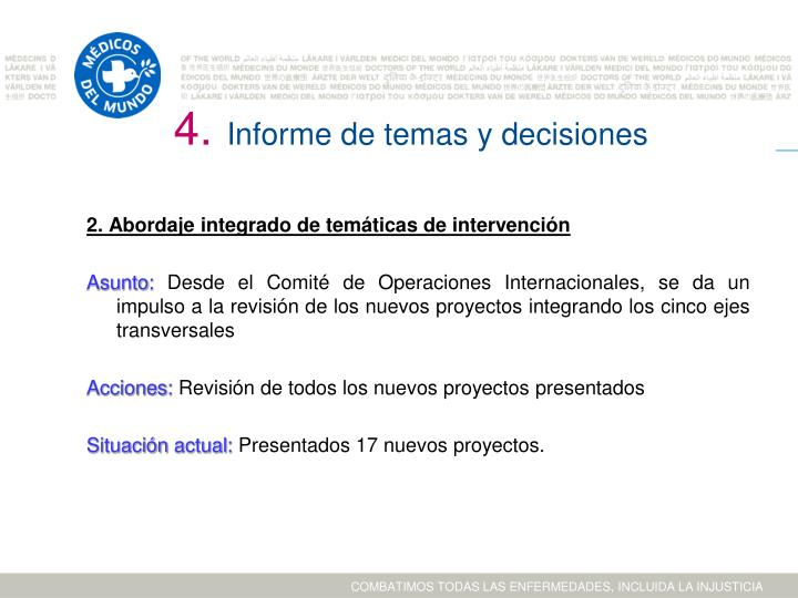 Informe de temas y decisiones