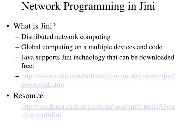 Network Programming in Jini