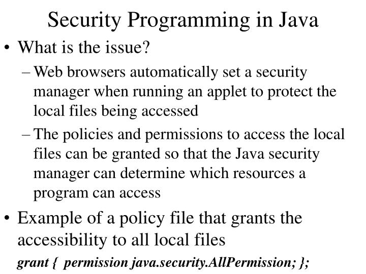 Security Programming in Java